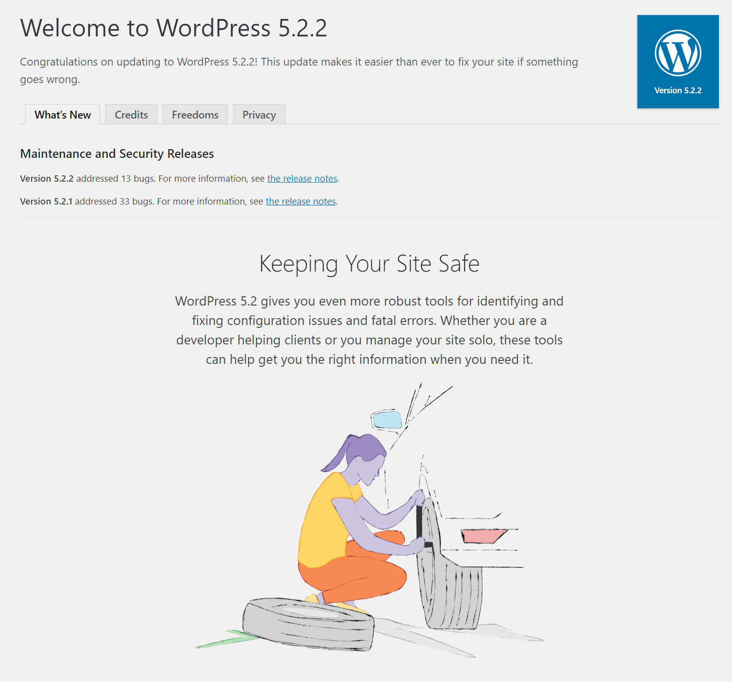 WordPress 5.2.2 gives us tools for resolving configuration problems. But that's not all!